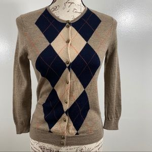 J.Crew 100% Merino Wool Argyle Cardigan Sweater